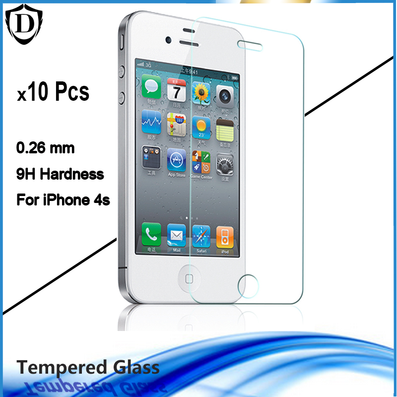 10pcs lot 9H Tempered Glass For iPhone 4 4S HD Clear Toughened Protective Film Original glass