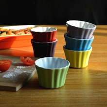 6 set color ceramic bake bowl baking mould jelly caramel pudding roasted cup ramekin mini cocottes(China (Mainland))