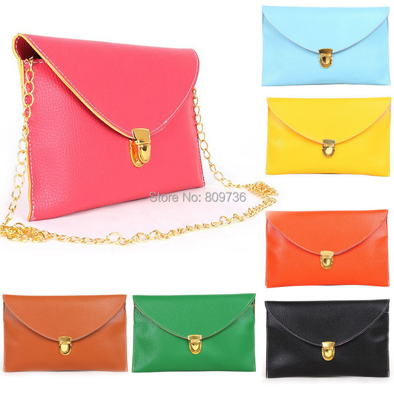 New Hot Women Envelope bags Clutch Chain Purse Lady Hand bag Shoulder girl Hand Bag Gift Cheap 12 Colors Drop Free(China (Mainland))