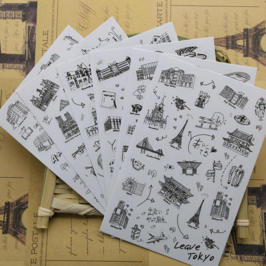 6 pcs/set Famous Building Stamp Sticker World Sightseeing Tours PVC Transparent Sticker Diary Stickers(China (Mainland))