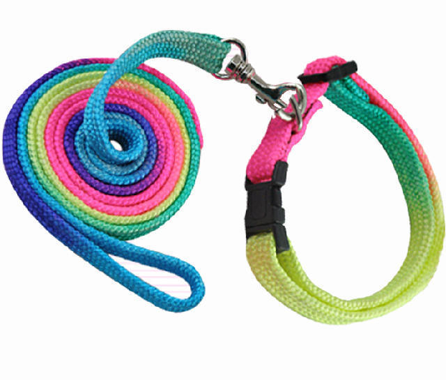 Wholesale Dogs Collars Leads Puppy Harness Leashes 7 Colour Chest Straps Rainbow Pet Traction Ropes 10Pcs / Lot Free Shipping(China (Mainland))