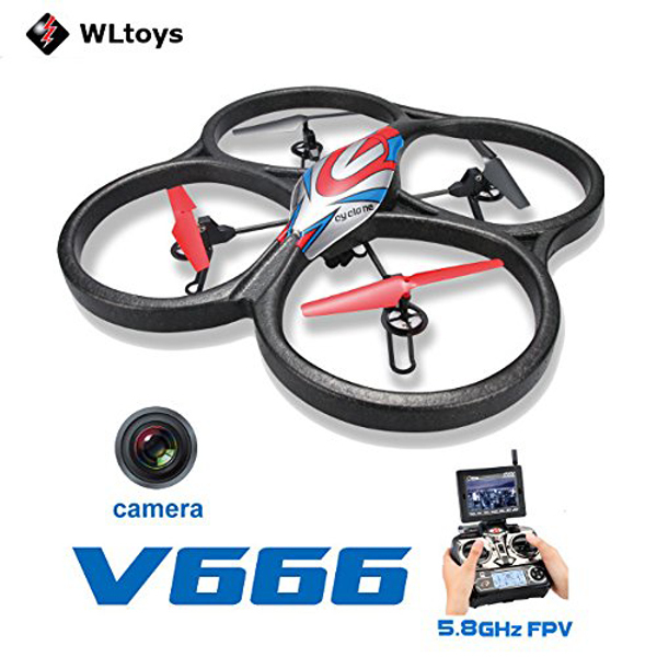WLtoys V666 4-CH 360 Flips 2.4GHz Radio Control RC Quadcopter with 6-Axis Gyro 720P Camera FPV Monitor RTF<br><br>Aliexpress