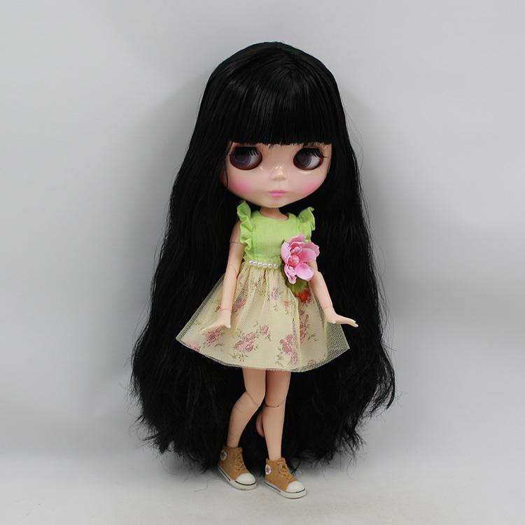 Фотография Blyth 30cm fashion doll black long hair with bangs joint body nude doll diy limited edition dolls