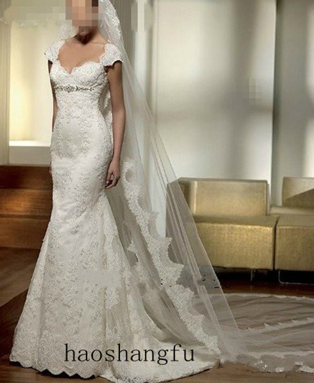 """Popular Ivory White Cathedral Wedding Dress Veil Lace Purfle Free Comb - Bride Dress""""s store"""