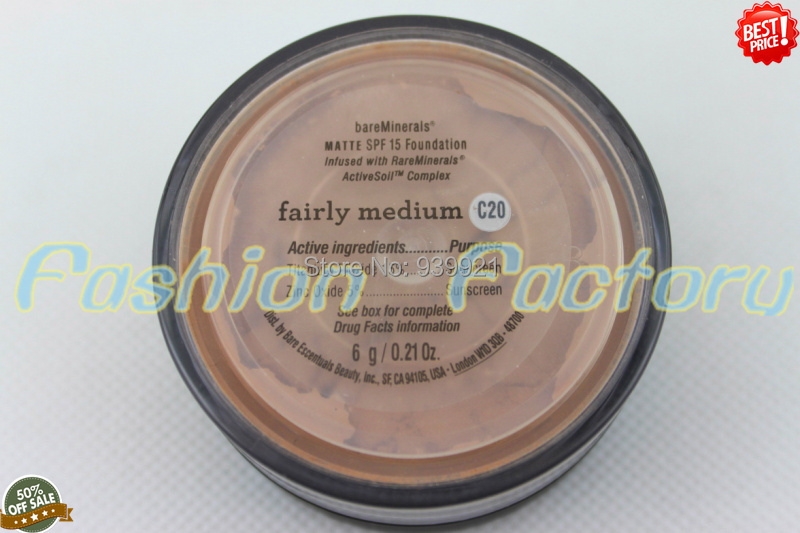 48pc/ lot  EMS/DHL best quality bare Minerals matte FAIRLY medium(C20) SPF15 Foundation/ loose powder,6g 0.21us oz Free shipping<br><br>Aliexpress