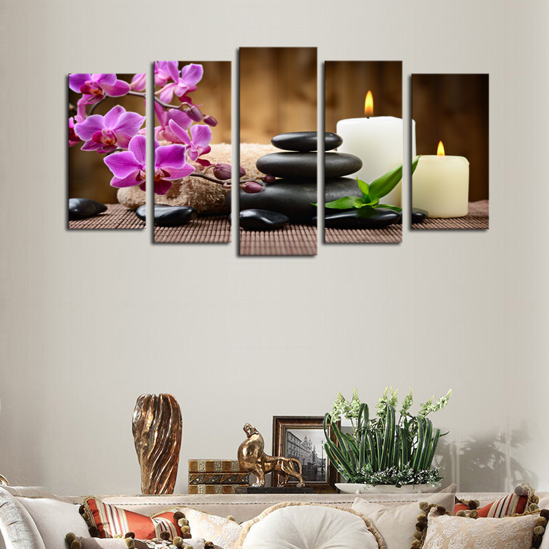 Wholesale Wall Art Canvas painting Unframed 5 Panels Purple Flowers Candle Picture Canvas Print Painting Artwork For Home Decor(China (Mainland))