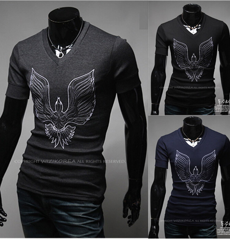 2016 new style t shirt men v neck short sleeve fashion tee
