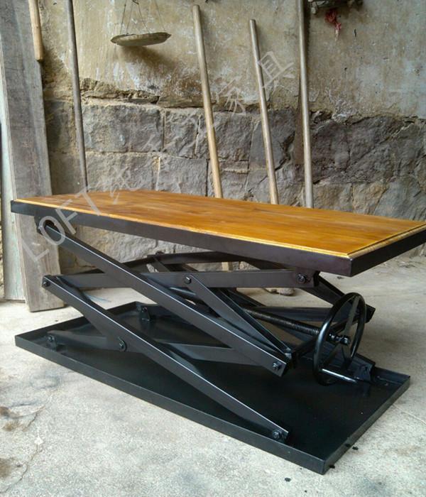 American Industrial furniture iron coffee table | rustic furniture | Coffee tables | Coffee table lift | lifts loft furniture(China (Mainland))