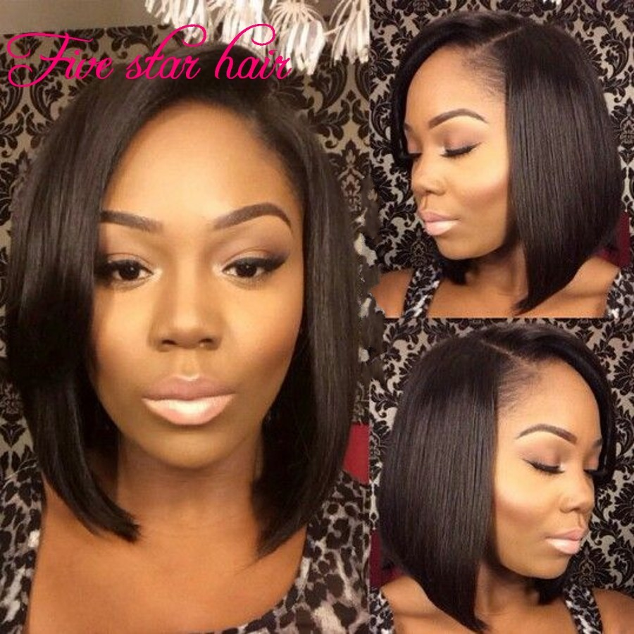 Instock Bob short Full Lace Wigs Virgin Hair Unprocessed 8A Grade Glueless Peruvian Lace front wigs Human hair For Black women<br>