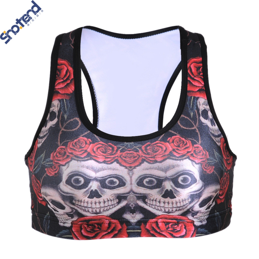 S.T Women Padded Tops Athletic Bras GYM Fitness Sports Bra Stretch Workout Bustier Crop Top Sports 3D Rose & Skull Printed Bras(China (Mainland))