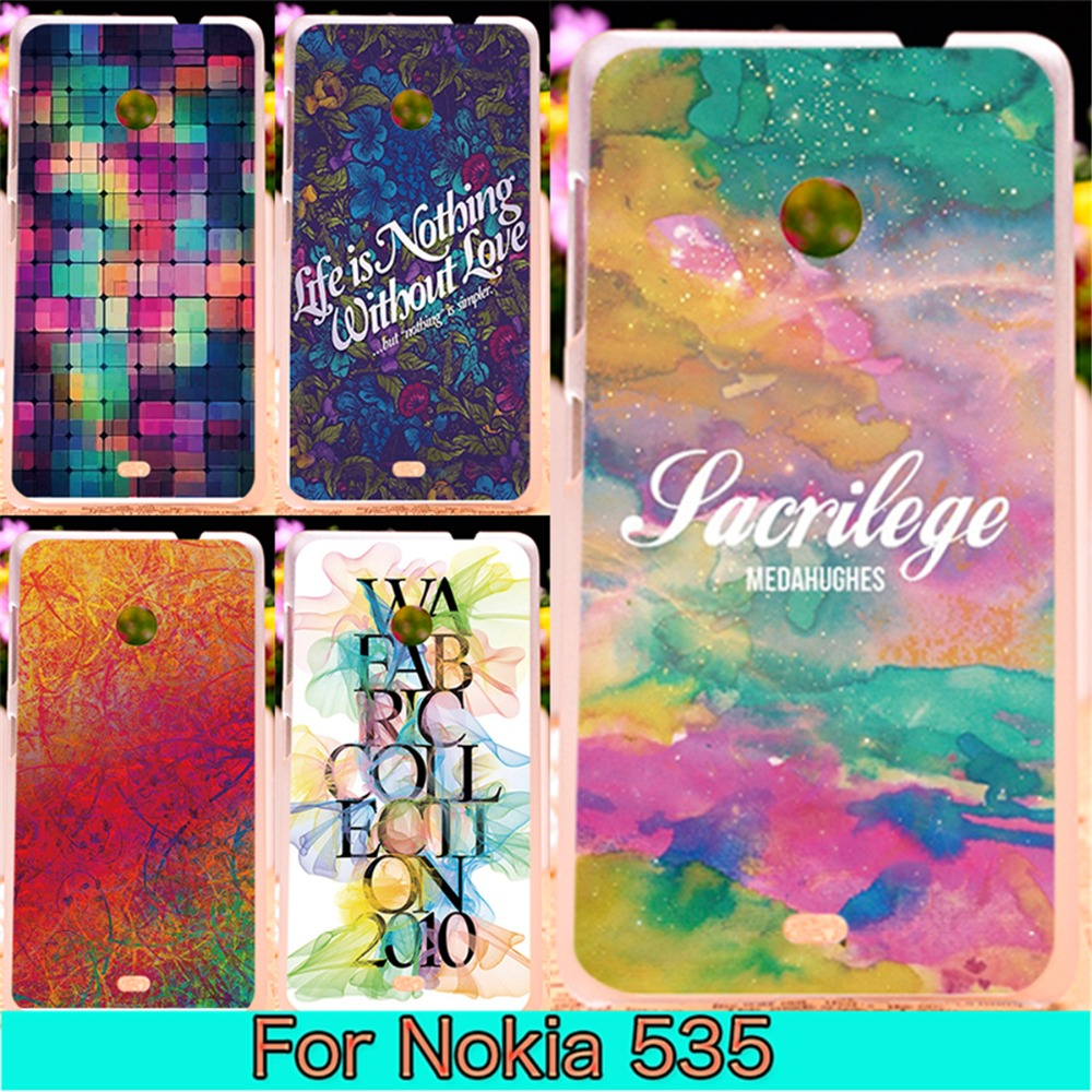 New Design Housing Smart Phone Cases For Microsoft Nokia Lumia 535 N535 Back Cover Shell Housing Beautiful Drawing Words Printed(China (Mainland))