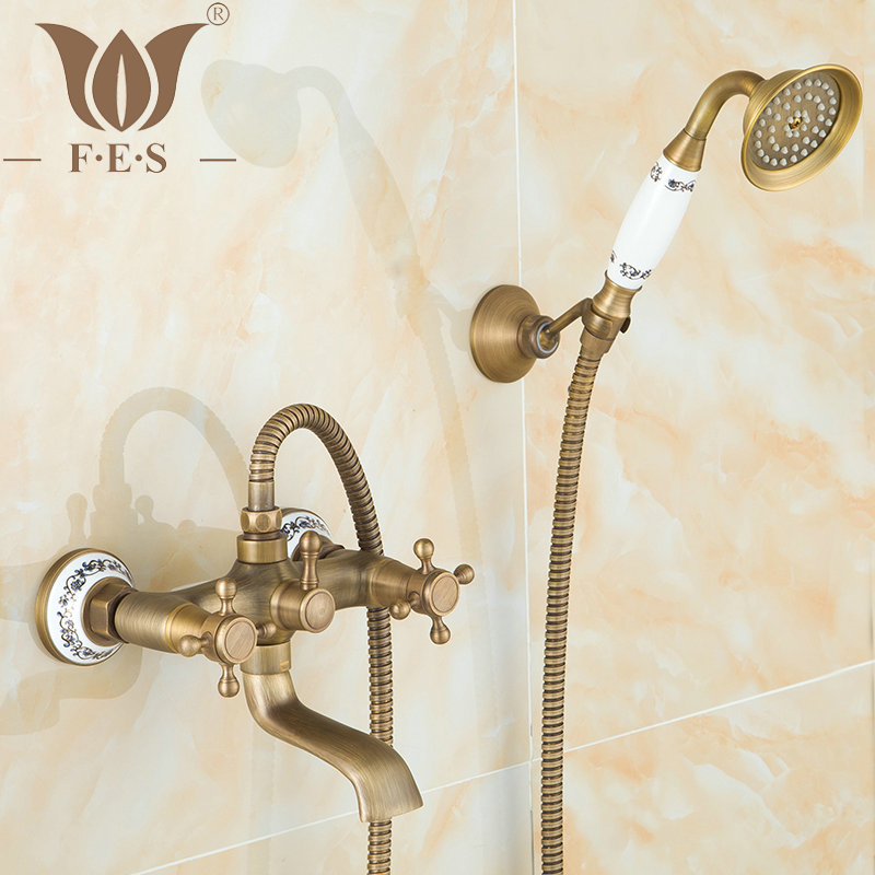 2 Way Wall Mounted Amtique Brush Brass Bath Faucets Bathroom Basin Mixer Tap Ceramic Crane With Hand Shower Head Shower Faucet(China (Mainland))