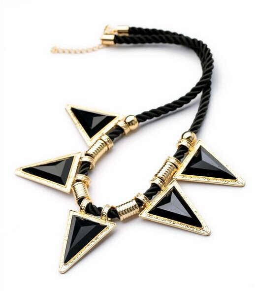 European American fashion elegant fine jewelry braided rope triangle pendant necklace Ms. - Freeway Mall store
