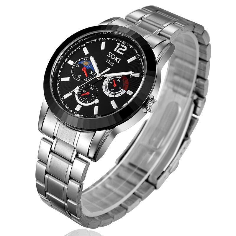 2016 new fashion luxury quartz soki-1135 brand male form, hardcover three high-end men's watches fake eye, the best choice stay(China (Mainland))