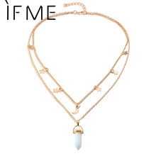 Buy IF ME Fashion Natural Opal Stone Moon Star Choker necklaces Women Gold Color Double Layer Crystal Pendant Necklace Jewelry for $1.67 in AliExpress store