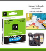 12mmX7m 12mm label black on white tape 45013 compatible d1 label tapes with dymo d1 label printer