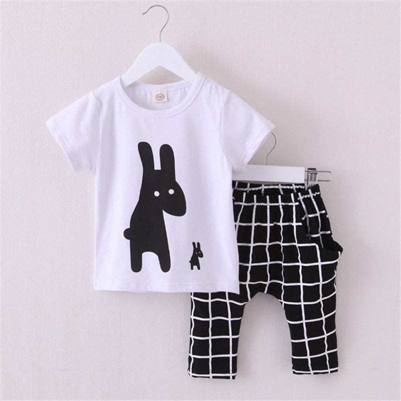2016 New Summer Boys Clothes Rabbit Children Clothes for Boys Toddler Baby Boys Clothing Set Short Sleeve T Shirts+ Plaid Pant(China (Mainland))