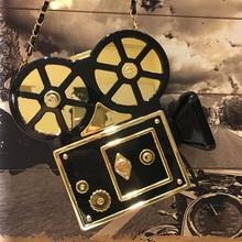 201 New Design Fashion funny projector modeling plastic black chain shoulder bag ladies handbag party purse clutch bag crossbody(China (Mainland))