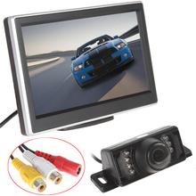 """5 """" TFT HD Panel del coche del Color de visión trasera pantalla reposacabezas Monitor + 7 IR de visión nocturna cámara impermeable reversa de reserva aparcamiento juego(China (Mainland))"""