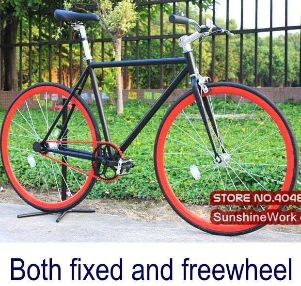 Bike With Red Rims Red Rim Complete Fixed