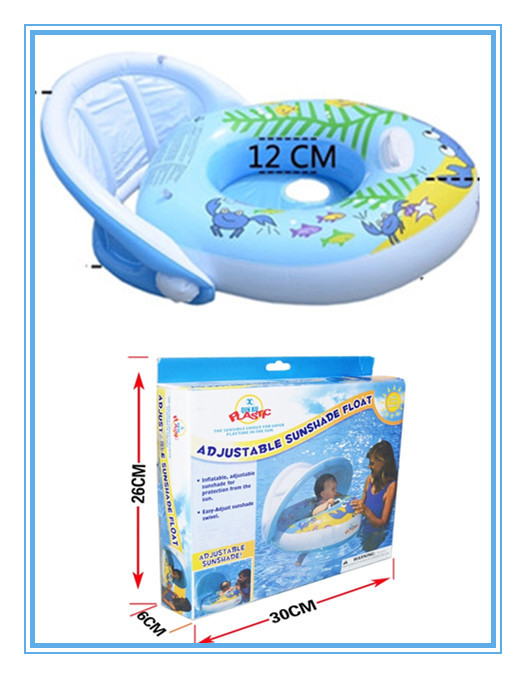 Hot Selling Cute Baby Pool Accessories Baby Float With Sunshade Inflatable Swimming Ring For Kids To Sit In Pool Blue Color(China (Mainland))