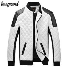 2017 New Design Men's Jacket Winter&Autumn PU Leather Black&White Fashion Slim Plaid Jacket For Man Drop Shipping MWJ883(China (Mainland))