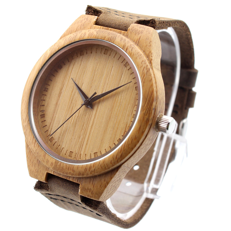 Watch Men/Women Made from Real Bamboo Wood, No Paint and No Chemical, with Geniune Leather Strap(China (Mainland))