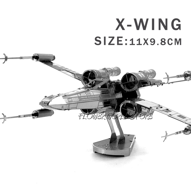 New creative Star Wars 3D model 3D metal puzzles DIY Jigsaws X-Wing Fighter puzzles Adult/Children gifts toys Not need glue(China (Mainland))
