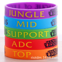 LOL, League of Legend Wristband, Silicon Bracelet with ADC, JUNGLE, MID, SUPPORT, DOTA 2 Printed Band,50pcs/Lot, Free Shipping