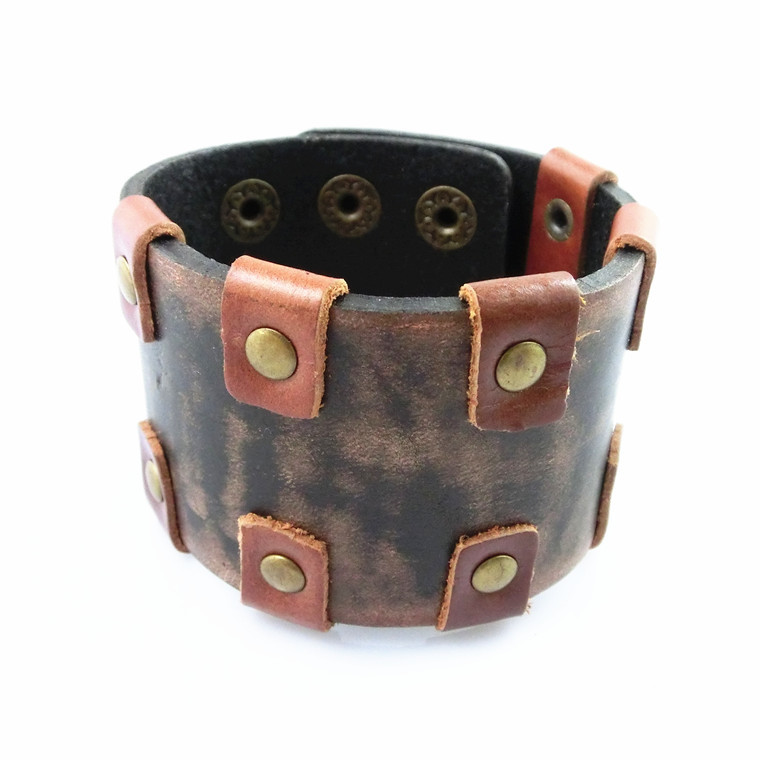 Luxury Brand wide genuine leather men bracelet fashion jewelry brown leather bracelet for men statement bracelet NSL-145(China (Mainland))