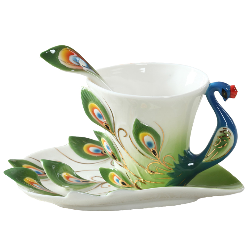 Peacock Coffee Mug Cup Ceramic Creative Cup Bone China 3D Color Enamel Porcelain Saucer Spoon Coffee Tea Sets for Gift(China (Mainland))