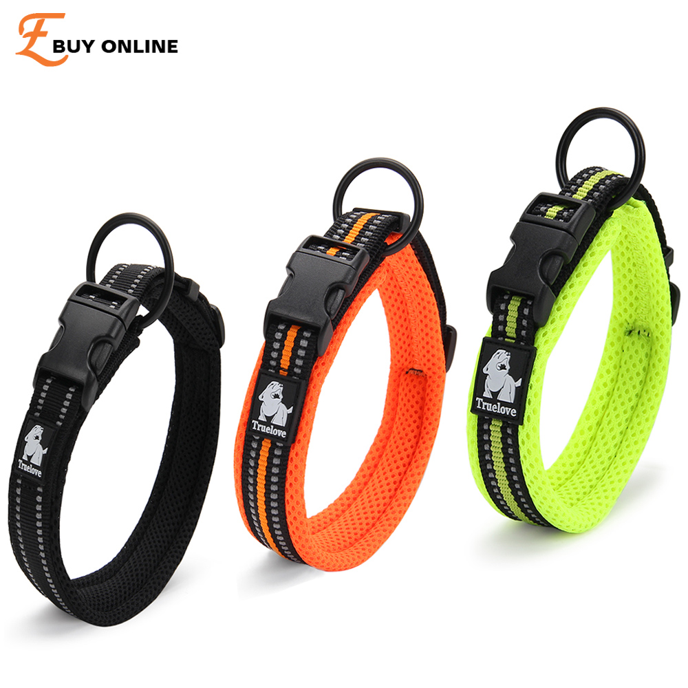Quality 3M Reflective Dog Collars Adjustable Pet Cat&Dog Collar Outdoor Trainning Soft Air Mesh Padded Brand Pet Product XXS-3XL(China (Mainland))