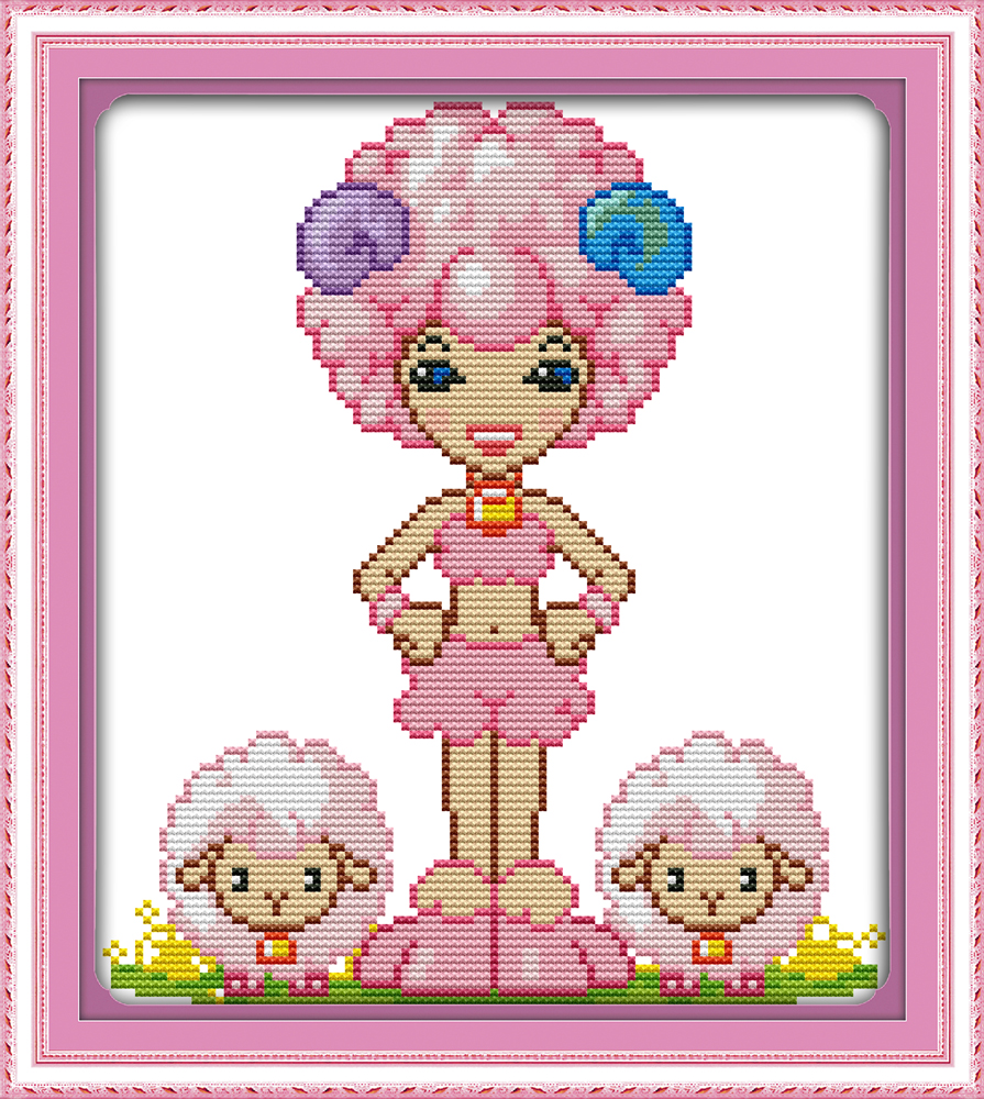 Joy sunday cartoon style The twelve zodiac-Aries design funky cross stitch patterns needlepoint kits for girls(China (Mainland))