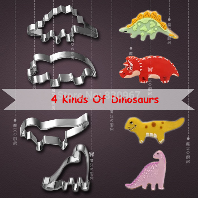 4 Pcs/Set 4 kinds of Dinosaur Shape Stainless Steel Cake Fruit Cookie Cutters Biscuit Sugar Mold DIY Cake Decoration 020141(China (Mainland))