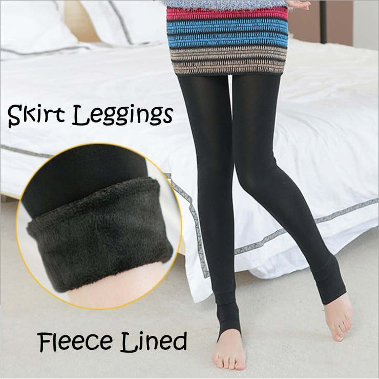 Fashion-faux-two-piece-skirted-leggings-velvet-thick-female-over-heel-fleece-lined-leggings ...
