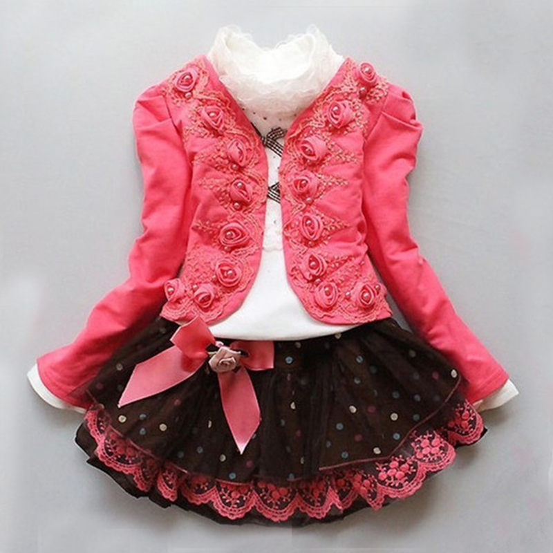 2015 Spring Autumn New Fashion Children Clothing Girls Floral Dress Suit Kids Princess Lace Three-piece Sets  -  Yiwu Rex Guo's store store