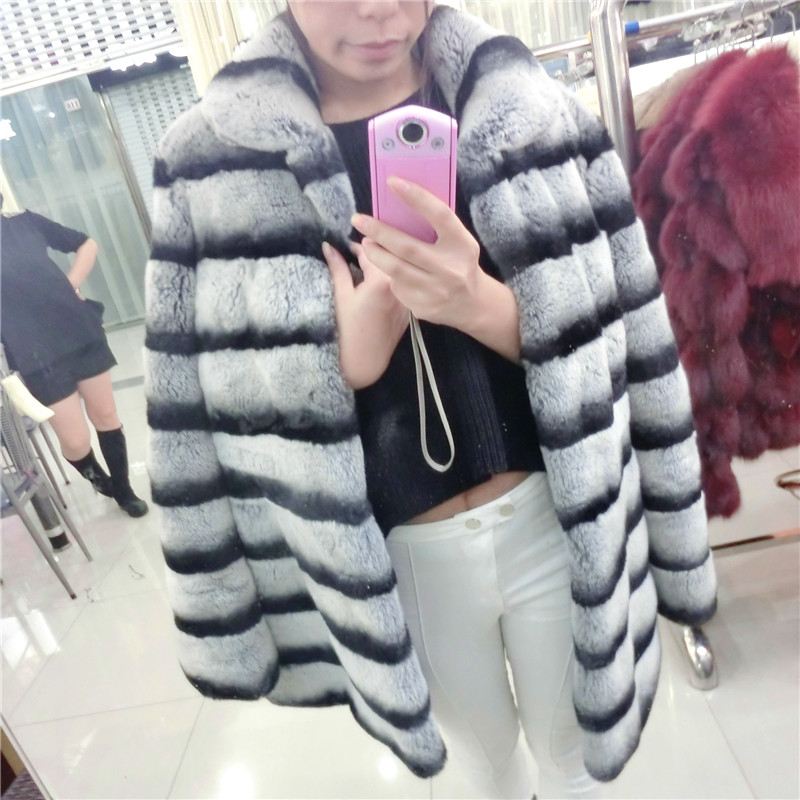 Top Best Winter Whole Natural Rex Rabbit Fur Coat Women's Real Fur Jacket Genuine Chinchilla Stripe Outerwear Large Size(China (Mainland))
