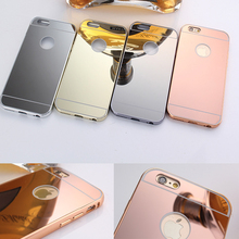 2016 new design cellphone case Aluminium metal case with electroplating mirror back case for iphone 5 5s, 6 6s ,6s plus 6plus