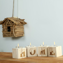 High Quality New Wooden HOME Candle Holder Stand Home Decorate 4 In 1 Set Candlestick hot(China (Mainland))