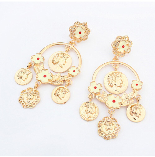 New design 2015 fashion exaggerated baroque style flower earrings big circle earrings coin Design and style fashion jewelry