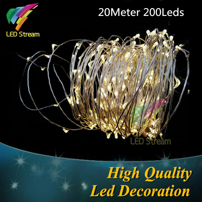 Outdoor 20Meter 66FT Battery Sliver Color Copper Wire 200 leds Fairy String Light Waterproof For Christmas Holiday Wedding Party(China (Mainland))