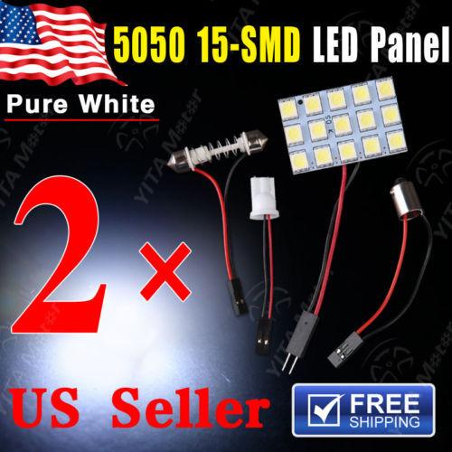 New Led Car Lights 2pcs Festoon T10 BA9S White LED 5050 15SMD Panel Car Interior Dome Map Light Lamp 12V w5w Xenon White LED -B(China (Mainland))