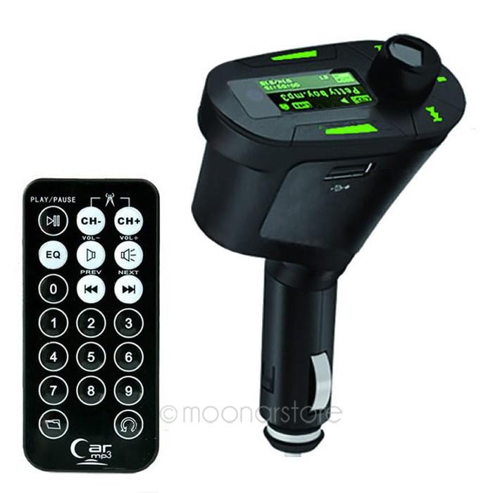 Wireless Car Auto MP3 Player Radio FM Transmitter Kit Modulator USB SD New Green MMC LCD Remote SELL LS*QP0026#A2(China (Mainland))