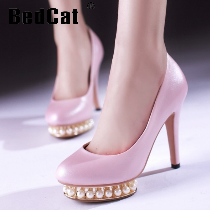 women thin high heel shoes pearl platform  footwear sexy brand party spring fashion heeled pumps heels shoes size 34-39 P17059<br><br>Aliexpress