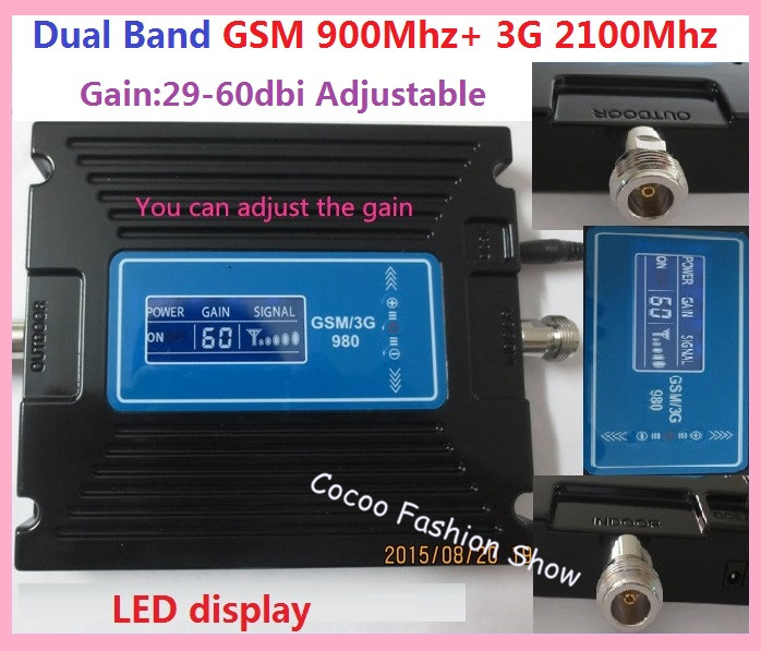New LCD display !!! Dual band GSM 900MHZ 3G WCDMA UTMS 2100MHZ Mobile signal repeater GSM 3g cell phone signal booster amplifier(China (Mainland))