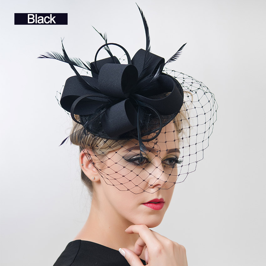 free shipping Women Fancy Feather Fascinator Hats Black Birdcage Veil Wedding Hats and Fascinators White Net Hair Accessories(China (Mainland))