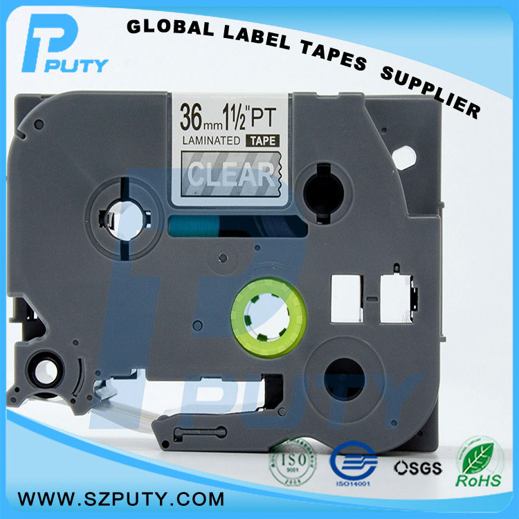 10 packs TZe-165 36mm White on Clear TZ-165 compatible label tapes for ptouch label printers<br><br>Aliexpress