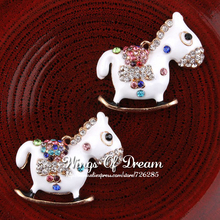 (50pcs/lot) Cute Alloy Crystal Trojans Necklace Charms Lovely Handmade Metal Rhinestone Cartoon Horse Charms For Pendant Jewelry(China (Mainland))