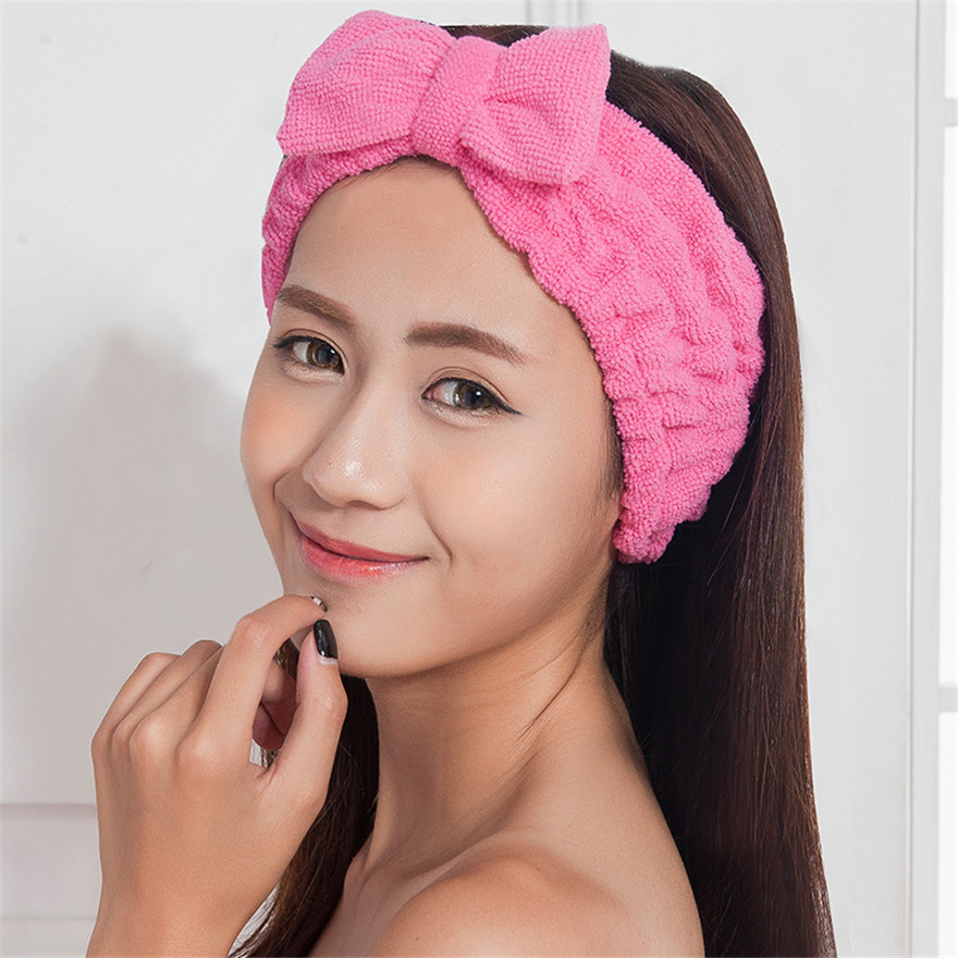 Fashion Kawaii Celebrity Inspired Bow Beauty Makeup Bath Wash Sport Hairdo Towel Women Headwear Headband Hairlace Bands Turban(China (Mainland))