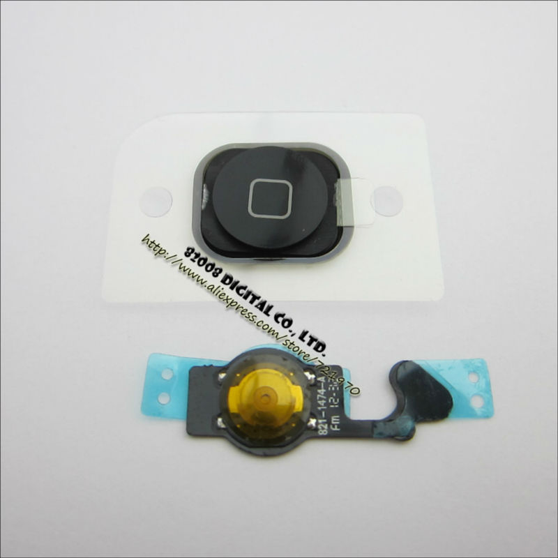 New Black Home Menu Button Key Cap+Rubber+Flex Cable for iPhone 5 Free shipping